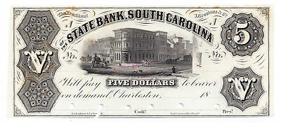 18Xx The State Bank  South Carolina Five Dollar Obsolete Proof Note   Unl