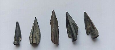 LOT OF 5 ANCIENT GREEK BRONZE CORINTHIAN ARROWHEADS WAR RELIC 1000-600 B.C.