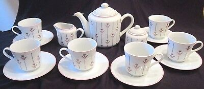 Algar Coffee Tea Set for 6 - Pink & Grey Flowers - 17 pcs - Japan -New Old Stock