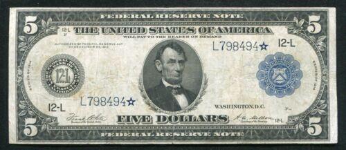 FR. 891a 1914 $5 *STAR* FRN FEDERAL RESERVE NOTE SAN FRANCISCO, CA VERY FINE