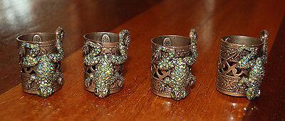 Rhinestone Encrusted Frog Napkin Rings (copper??) - Set of 4
