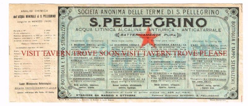 V1 1900s San Pellegrino Medicinal Mineral Water Label Stephens Collection