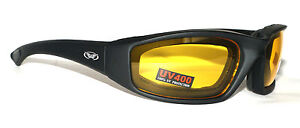 Yellow Tinted Motorcycle Glasses/Biker Sunglasses + Pouch 4 Open Face Helmet Use
