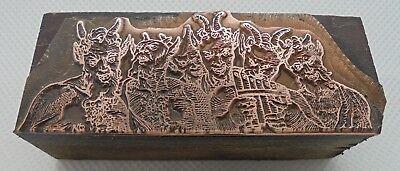 Vintage Printing Letterpress Printers Block Greek Mythology Pan Flute
