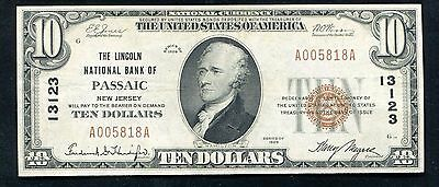 1929  10 The Lincoln National Bank Of Passaic  Nj National Currency Ch   13123