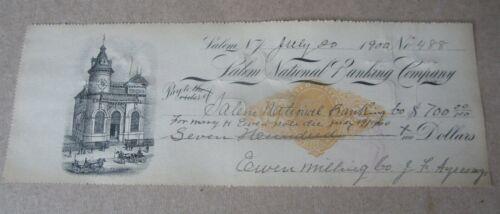 Old 1900 SALEM N.J. - BANK CHECK - Revenue Stamp - Owen Milling Co.