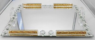 Rectangle mirror tray with crystal and golden shimmer