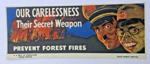 Original 1943 WWII Military Trolley Poster w/ Hitler and Tojo Prevent Wildfires
