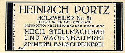 Heinrich Portz Holzweiler STELLMACHER & WAGENBAUER Historische Reklame von 1926