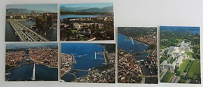 6 x GENF Genève vom Flugzeug aus Schweiz Suisse Postkarten AK Lot ab ca. ~1970