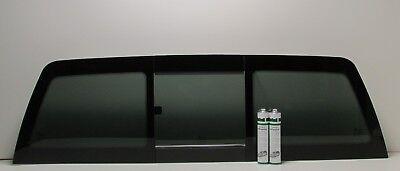 Fits 1988-1998 Chevy/GMC Pickup  Manual Slider Back Window Glass + 2 Glue