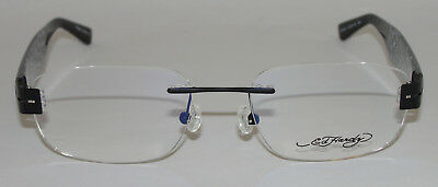 NEW ED HARDY LITES VINTAGE TATTOO MEN'S EYEGLASSES  ELH 824 BLACK RIMLESS