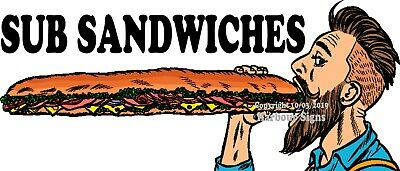 Choose Your Size Sub Sandwiches Decal Food Truck Concession Catering Sticker