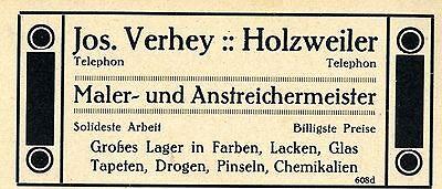 Jos. Verhey Holzweiler MALERMEISTER Historische Reklame von 1926