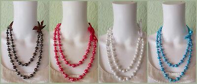 Neu Perlenketten Multilayer Satinschleife weiß türkis pink braun Glanzperlen H30 ()