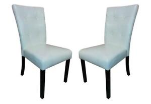 NEW Leatherette Dining Room Chairs Solid Armless Elegant Style (Set of 2) (White) Condition: New