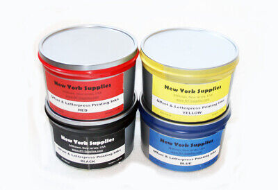 Assorted Offset Letterpress Printing Inks - Black Blue Red Yellow 2.5 Lbs Each