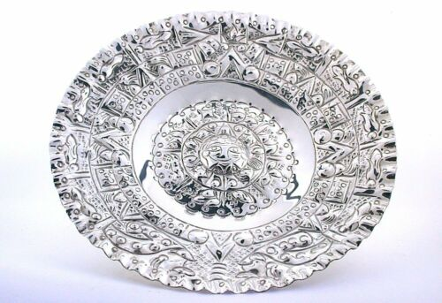 5 1/2 Inch Vintage Aztec Calendar Sterling Silver Wall Plaque Dish Plate  AS131