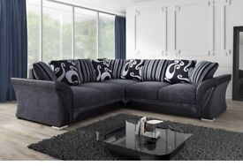 brand new Shannon black brown beige and grey 3 + 2 and corner sofa set - get on low price