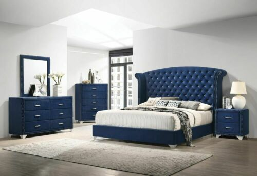 4 PC BLUE VELVET CRYSTAL TUFTED QUEEN BED N/S DRESSER BEDROOM FURNITURE SET