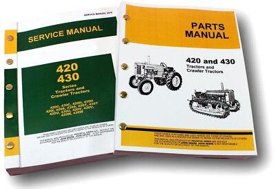 Service Manual Set For John Deere 420 420c Crawler Dozer Parts Catalog Repair