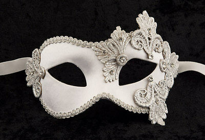 Mask from Venice Colombine Macrame White Silver Satin and Paper Mache 2121-V43