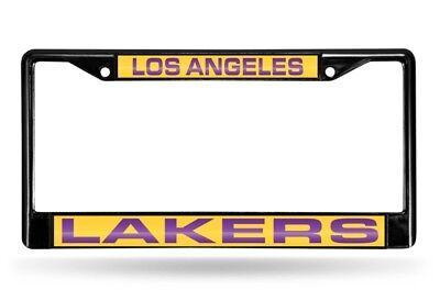 Los Angeles LA Lakers NBA Black Metal Laser Cut License Plate Frame Los Angeles Lakers Laser