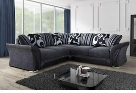 New Shannon 3 + 2 Seater Sofa Grey Black / Brown Mink Fabric Faux Leather Settee