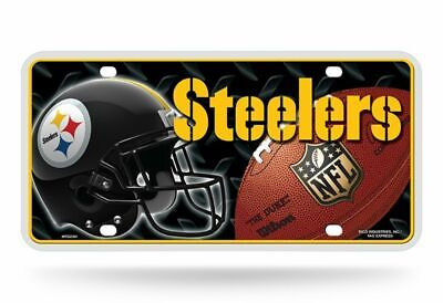 LOT OF 2 STEELERS HELMET METAL LICENSE PLATES 12 x 6