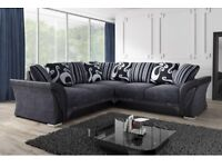 🚚🚛SAME DAY DELIVERY 🚚🚛BRAND NEW SHANNON CORNER SOFA in LEATHER & CHENILLE FABRIC, -SAME DAY