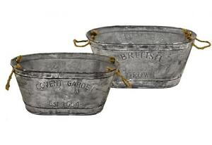Set of 2 Covent Garden Small Oval Galvanised Zinc Metal Tin Plant Planter Pot
