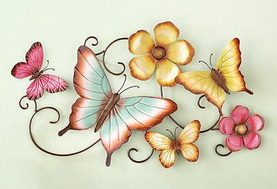 - Butterfly Garden Metal Wall Art Scroll Vine Hand Painted Butterflies Flowers