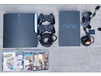 PS3 Slim 120GB + games AND Playstation 2 with games + controllers + cables