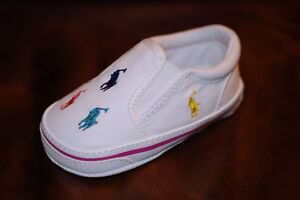 Baby-Shoes-Ralph-Lauren-Layette-White-Multi-Canvas-Sneaker-3-6-mos-Size-2