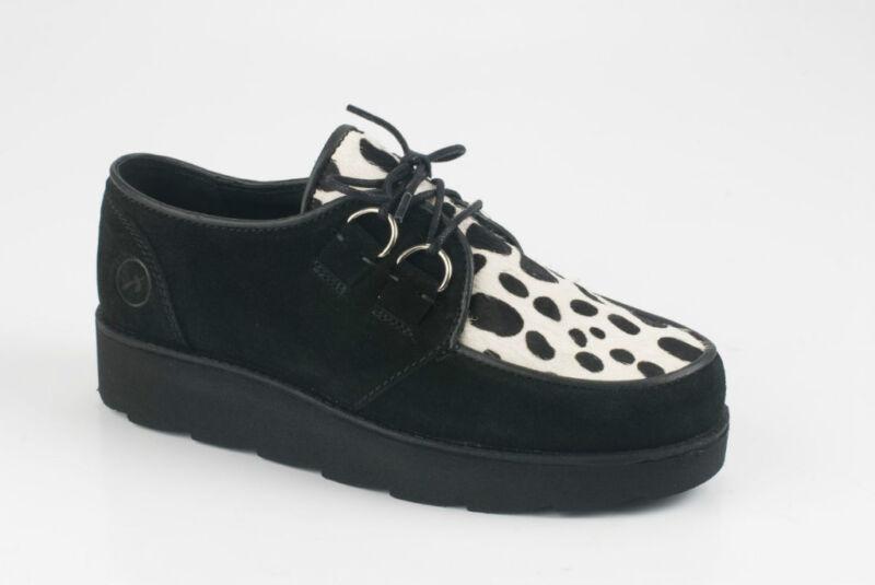 bronx damenschuhe creepers shoes boots schwarz dalmatiner look echtleder neu ebay. Black Bedroom Furniture Sets. Home Design Ideas