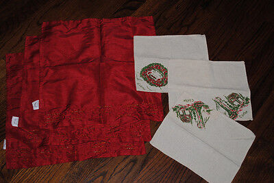 LOT OF 6 Xmas napkins Red with gold beads Eskimo Cache House unique different