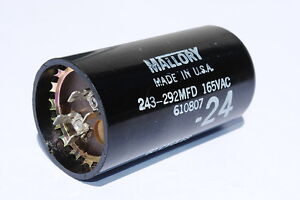 mallory 243 292mfd motor start capacitor 165 volts ac 60hz