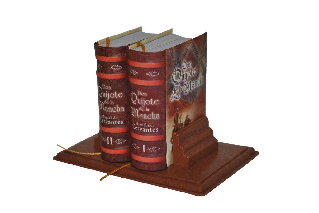 Set 2 Miniature Books Don Quijote De La Mancha With Stand In Spanish 800pgs
