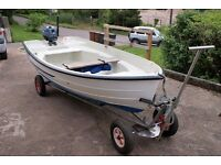 Bonwitco 320 with 4hp Yamaha outboard, road and launch trailer, weather cover, one owner from new