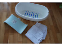 Baby Bath Kit (IKEA LATTSAM Bathtub, Beaba Support and Hooded Towels ) – 10£
