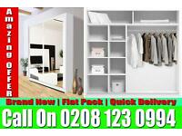 WHITE SLIDING 2 DOORS BERLIN FULL MIRROR CHEAP PRICE WARDROBE