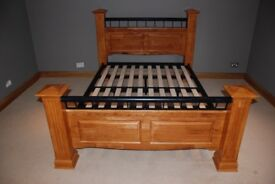 Wooden and Metal King Size Bedstead