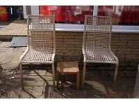 TWO LOVELY CHAIRS STAINLESS STEEL WITH WOVEN BACKREST/SEAT AND FOOTSTOOL, CAN DELIVER