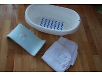 Baby Bath Kit (IKEA LATTSAM Bathtub, Beaba Support and Hooded Towels ) – 10£