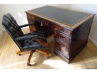 4.5X2.5ft Antique Style Pedestal New Leather Top Desk(Key) &Captains Chair-Excellent Condition