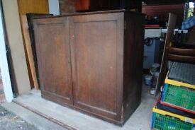 Edwardian solid oak linen press - cupboard