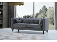 plush velvet florence sofa 3 and 2 seater in grey color only