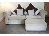 Shabby Chic beautiful large crushed velvet sofa with loose cover reversable cushions & Foot stool