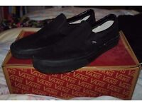 Vans All Black Slip Ons uk10