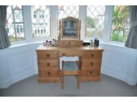 Antique Pine Dressing Table and Bedside Cabinets